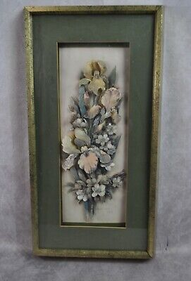 Vintage 3D floral Flowers Robert Laessig Wall Art Shadow Box Framed