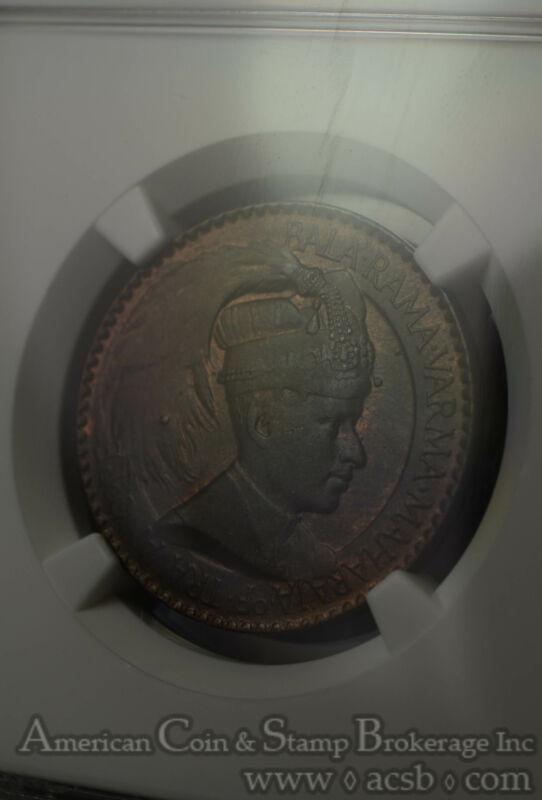 India-Travancore 1 Chuckram ND(1939-40) MS64 BN NGC KM#60 2nd Finest 1/0
