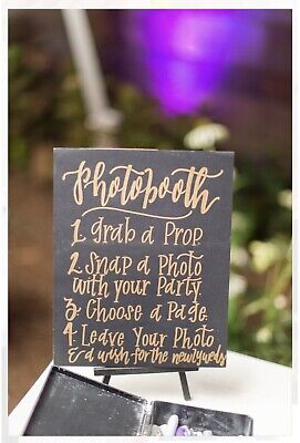 Photo Booth Signs (Photo Booth Sign, Wedding Party Sign, Grab a Prop 8x10 UNFRAMED Easel)