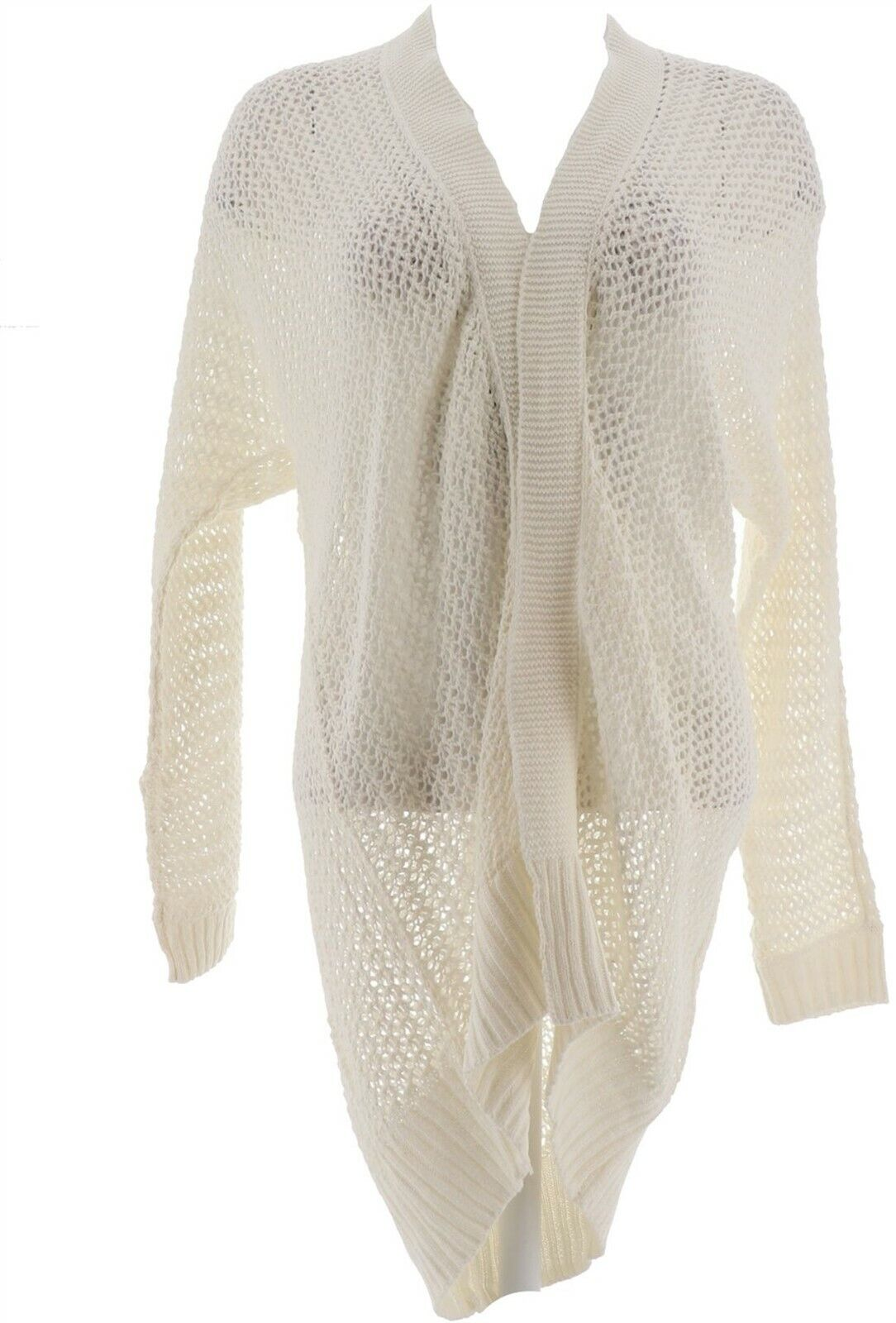 Laurie Felt Cashmere Blend Sweater with Jeweled Neck Color Winter White LARGE