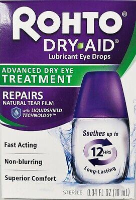 Rohto Dry Aid Lubricant Eye Drops, 0.34 fl oz -Expiration Date 12-2020