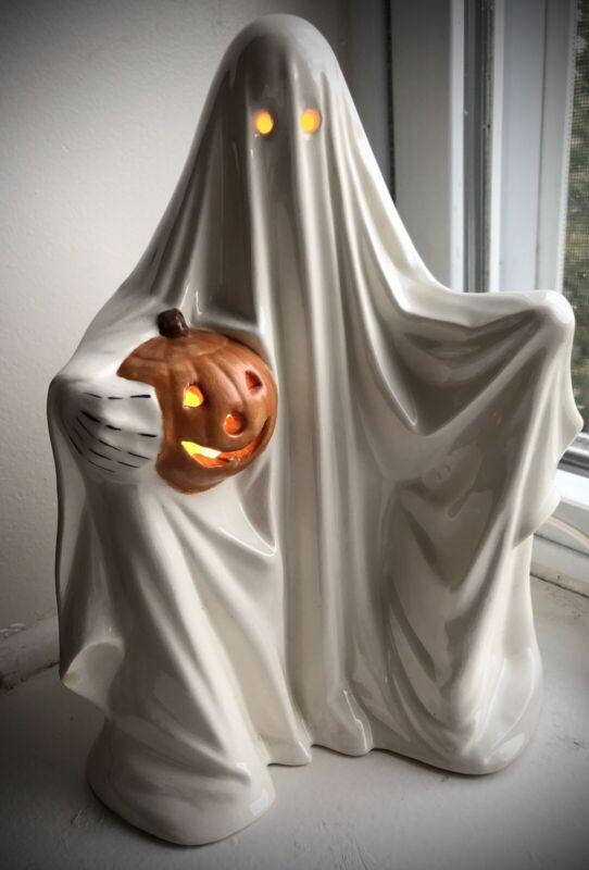 vintage Halloween Ceramic Ghost with Pumpkin Lamp Byron Ceramics Mold