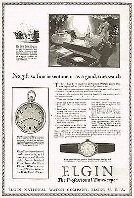1920s Original Vintage Elgin Pocket Watch Print Ad b