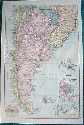 1901 LARGE VICTORIAN  MAP-SOUTH AMERICA SOUTH,INSET VALPAIRAISO,MONTIVIDEO,BUENO