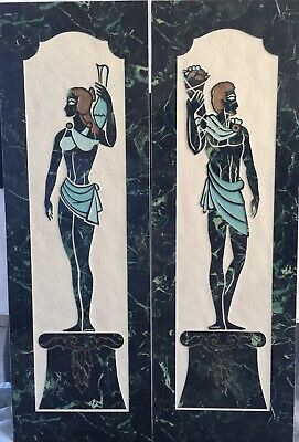 Midcentury Greek Wall Plaques Hangings Man And Woman Large