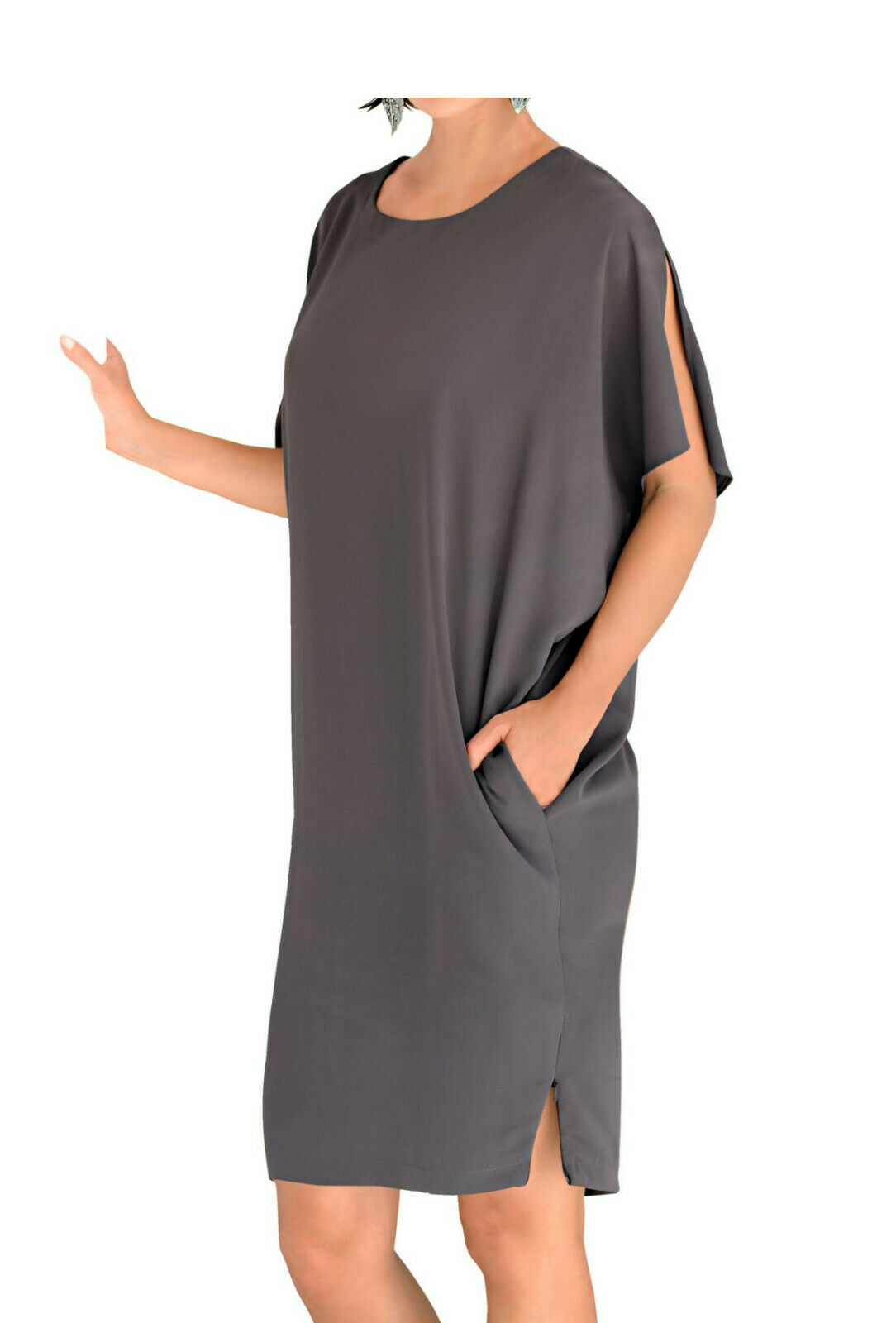 details zu alba moda oversized-kleid, anthrazit. gr. 36. neu!!! kp 99,95 €  sale%%%