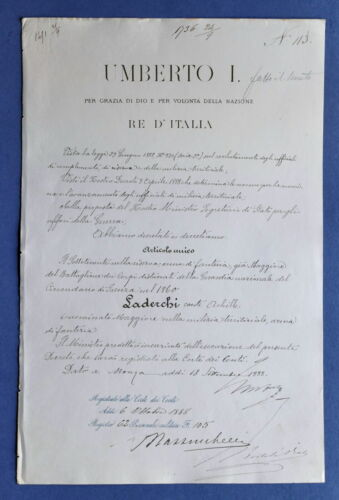 Royalty King Umberto I Italy Savoy Signed Royal Document Manuscript Autograph IT