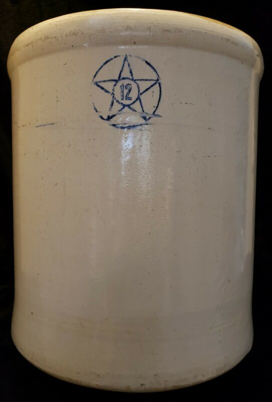 Vintage Huge 12 Gallon Crock Cobalt Blue Star Stoneware Co Crooksville Ohio Rare