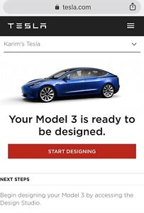 Tesla Model 3 on Reservation