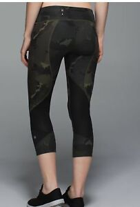 ❤️RARE LULULEMON CAMO PACE RIVAL CROPS WITH SIDE POCKETS & MESH