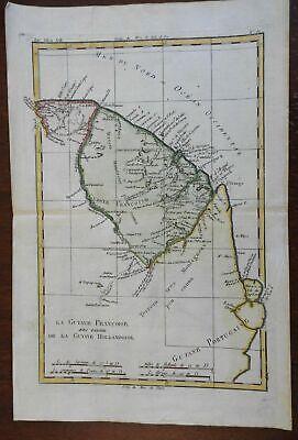 Guyana French Guyana Suriname South America 1780 Bonne engraved map