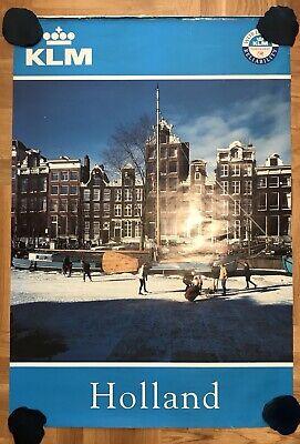 VTG. ORIGINAL KLM ADVERTISING HOLLAND FLIGHTS BIG TRAVEL POSTER AIRLINES 1970's