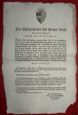 1823 AARAU - Verordnung gegen FUHRÜBERLADUNG der STRASSEN