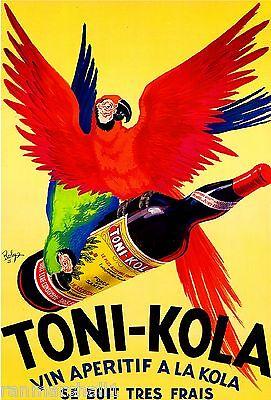Toni-Kola Macaw Parrots vin Aperitif Wine Vintage Advertisement Art Poster Print