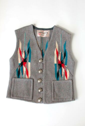 RARE Vintage 1940s Chimayo Hand Woven Wool Vest Southwest Arts & Crafts - Small
