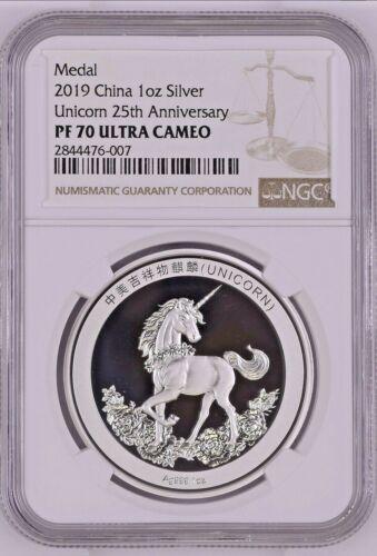 2019 China 1 Oz Silver Unicorn 25th Anniversary Medal NGC PF70 * LOW POP * EBUCK