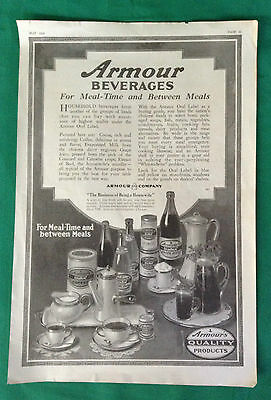 1919 Vintage Magazine Ad ~ Armour Beverages ~ Milk ~ Juice ~Coffee ~ Extract