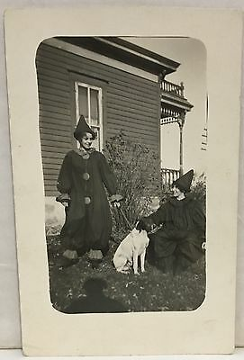Real Photo Postcard RPPC ~ Two Women In Clown Costumes With Dog ~ Stratford IA