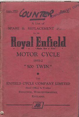 ROYAL ENFIELD 500 TWIN (1951-52) ORIGINAL FACTORY ILLUSTRATED PARTS CATALOGUE