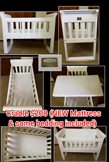 Baby Cradle with New mattress and some bedding