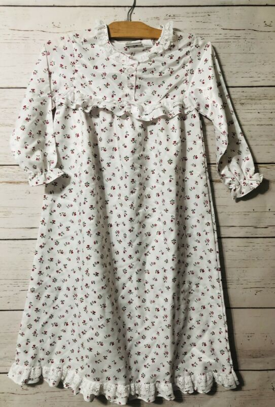 Vintage Girls Pajamas Nightgown Ruffles 8 USA Silky Floral Nordstrom