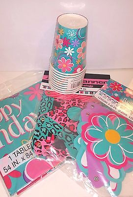 NEW! NIP PINK TURQUOISE PURPLE LEOPARD HAPPY BIRTHDAY BANNER, CUPS, TABLECLOTH](Leopard Birthday Banner)
