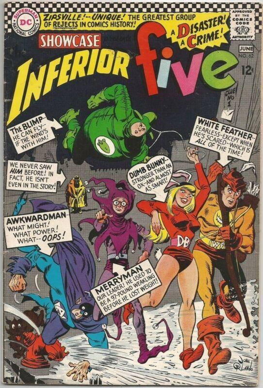 Showcase #62 DC (1966) Silver Age Comic Book FN+/VF- (1st Inferior Five App.)