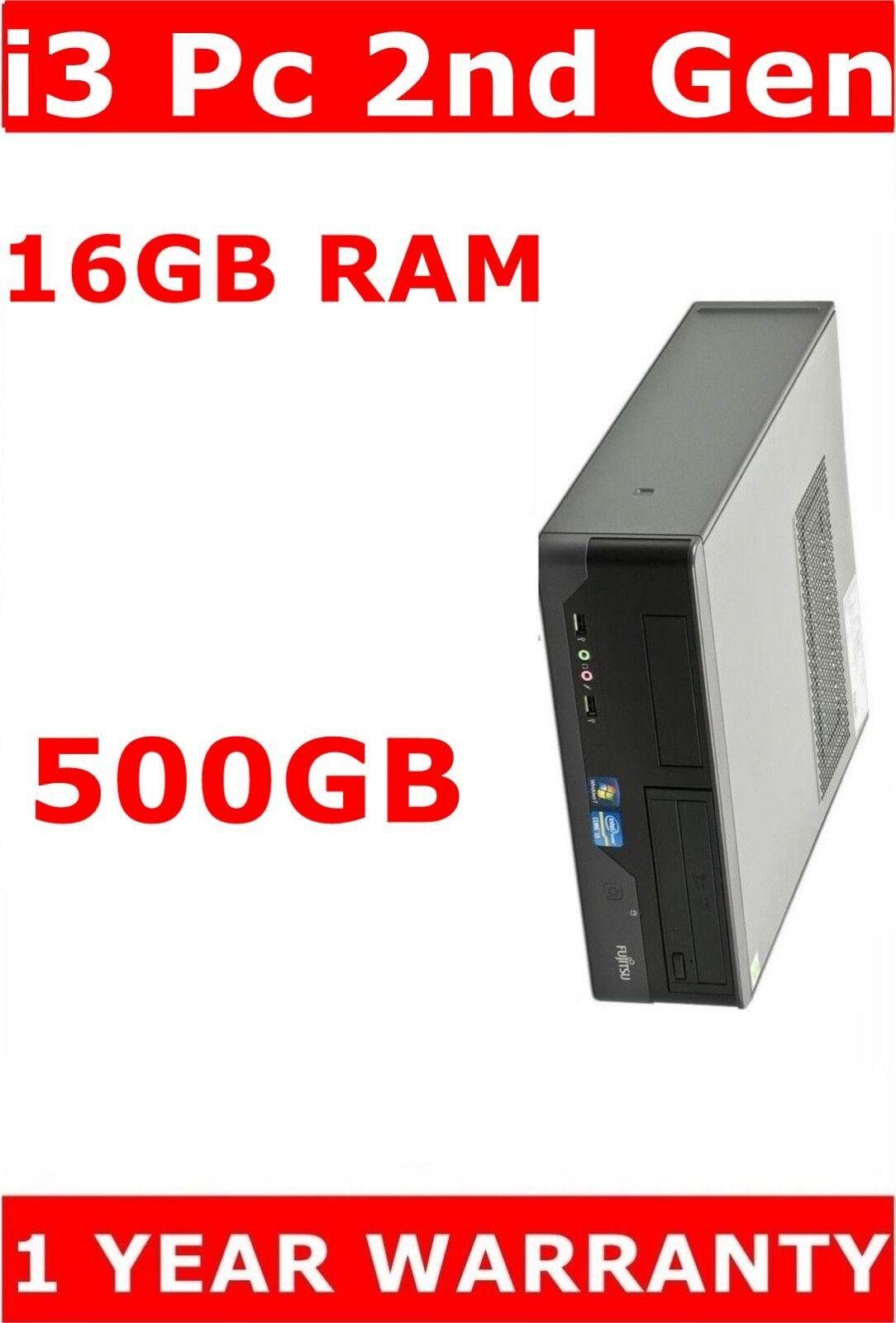Computer Games - FUJITSU 2nd GEN i3 COMPUTER PC 16GB RAM 500GB DUAL SCREEN GAMING PC GT 710 2GB