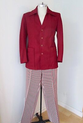 WILD Vtg 70s red white 2-pc disco pimp leisure suit bell bottom stripe pants 38 - Bell Bottom Suit