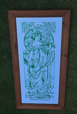 "Vintage HUGE Mucha Art Nouveau Moet et Chandon Champagne Mirror 17"" X 36"" Green"