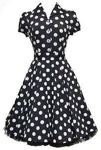 Ladies-40s-50s-Vintage-Style-Black-Big-Polka-Dot-Classic-Shirt-Dress-New-8-26