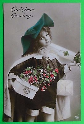 Greetings Postcards Package - Young Boy Big Hat Package-Christmas Greeting-Antique VTG Real Photo EAS Postcard