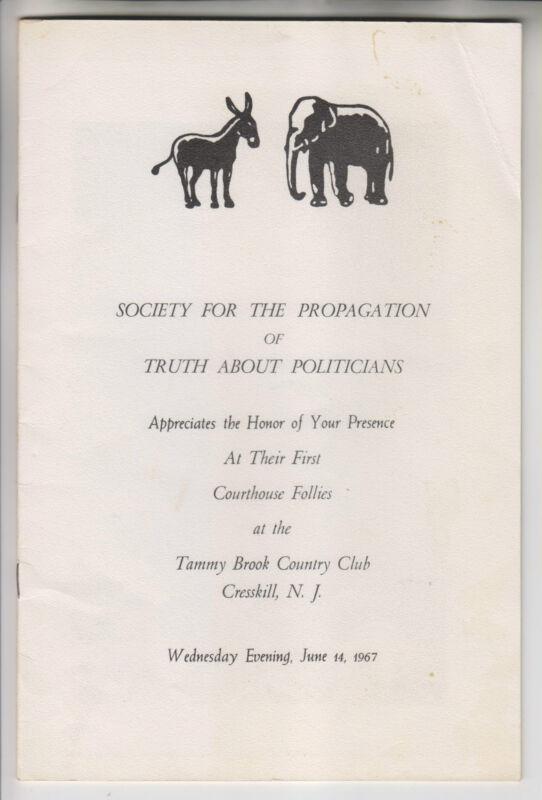 1967 PROGRAM - COURTHOUSE FOLLIES - TAMMY BROOK COUNTRY CLUB CRESSKILL NJ