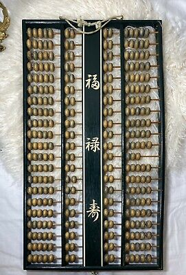 Vintage Daruma Double Abacus Asian Large Chinese Soroban Wood Wall Hanging Decor