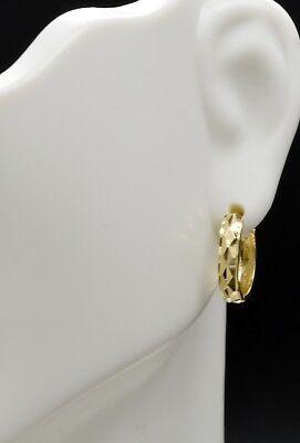 - 14K Solid Yellow Gold 15mm Faceted Huggie Hoop Earrings