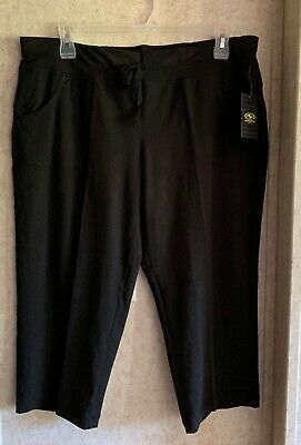 Athletic Works Womens Capris Pull On Super Stretch New Size XL 16 18 Black Knit