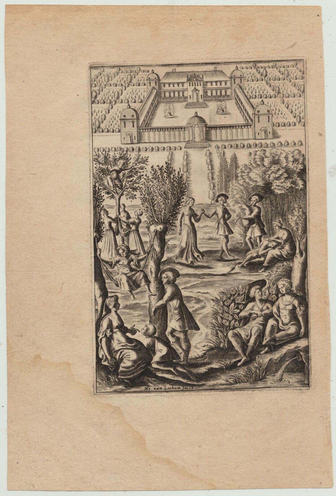 DUDELSACK Tanzmusik tanzen Orig. M. van LOCHEM Kupferstich um 1640 MUSIK ADEL