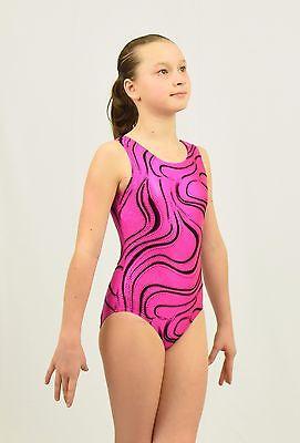 b9a8b3c57bd3 Gymnastics Tank Leotard size SMALL CHILD hot pink foil/black velvet print