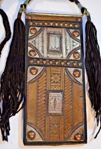 Antique Tuareg Tribe Talisman Mixed Metal Square Amulet Pendant African Necklace