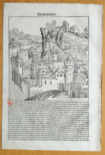 Incunable Leaf Schedel Liber Chronicorum Large Woodcut Walachia - 1493
