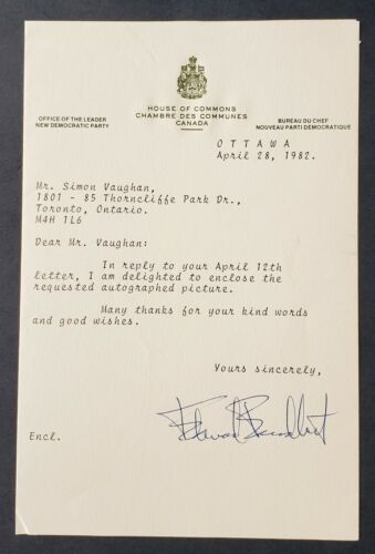 1982 Letter On House Of Commons Letterhead Signed By NDP Leader Edward Broadbent