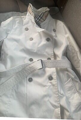Ladies Burberry Mac Trench Coat White Size 14