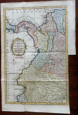 South America Panama Colombia Ecuador Peru 1777 Kitchin engraved map