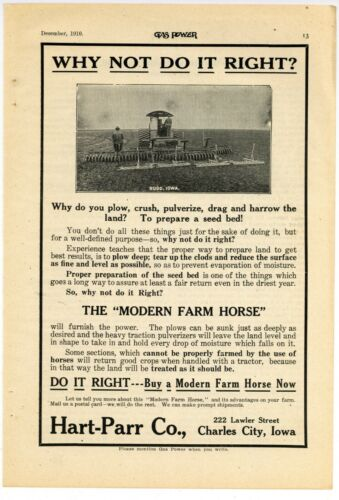 1910 Hart Parr Tractors of Charles City, Iowa Ad: At Work in Rudd, Iowa
