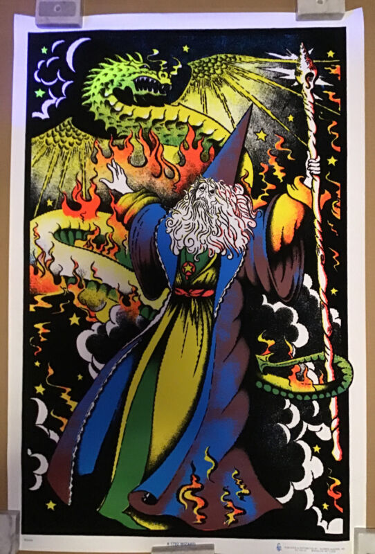 Wizard And Dragon Rare OOP Blacklight Poster