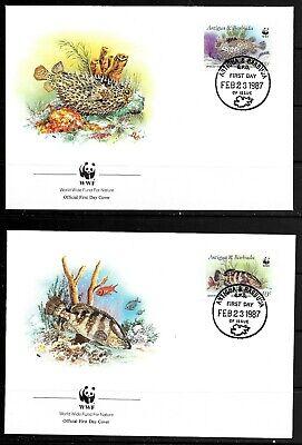 1987 Antigua & Barbuda 4 x FDCs featuring fish dated 23 February 1987