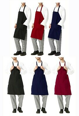 Restaurant Grill Bbq Commercial Home Kitchen Chef Cook Bib Black Red Navy Apron