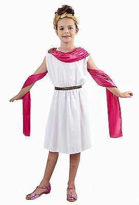 Mädchen rosa und weiß griechisch römisch Göttin Kostüm Kleid Outfit Buch Woche