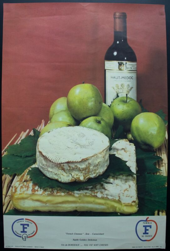 c.1960 French Government Wine Cheese Advertising Poster Camembert Brie Vintage