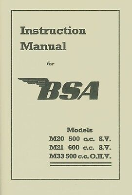 BSA Book M20 M21 M33 Reprinted Instruction Manual Plunger Motorcycles